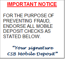 Mobile Deposits Endorsement Notice - Cedarstone Bank