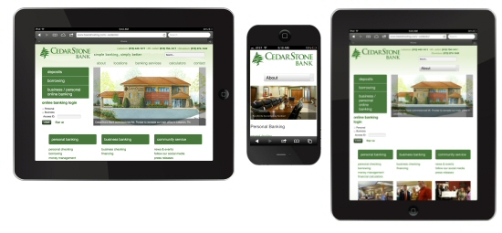 Tablet and Mobile Responsive Website - CedarStone Bank
