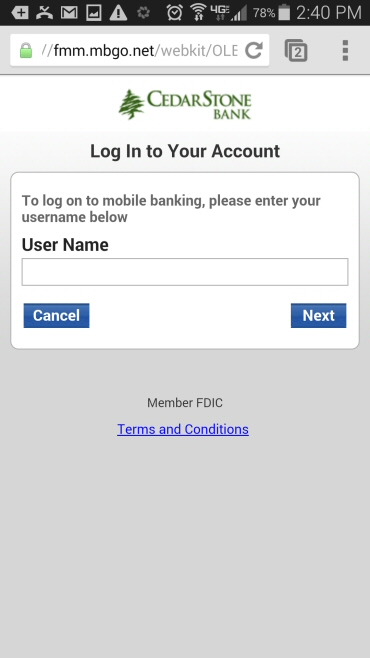 Mobile Banking Login Screen - CedarStone Bank