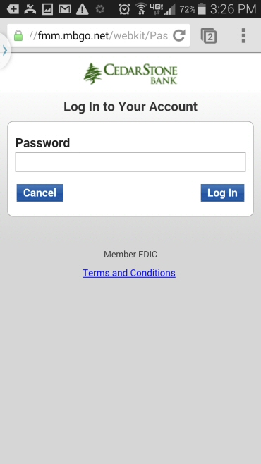 Mobile Banking Login - CedarStone Bank