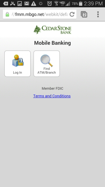 Mobile Banking Login Menu - CedarStone Bank