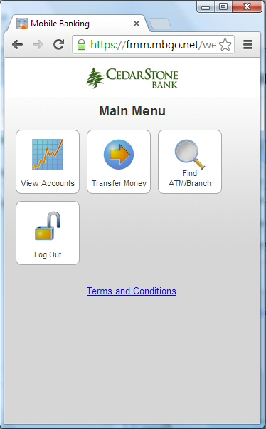 Mobile Banking Main Menu - CedarStone Bank